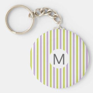 Lime & Fuchsia Stripes custom monogram key chain