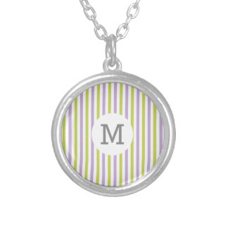 Lime & Fuchsia Stripes custom monogram necklace