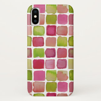 Lime fuchsia watercolor squares iPhone case