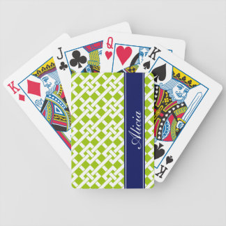 Lime Garden Lattice Print Bicycle Playing Cards