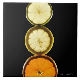 Lime,Grapefruit,Lemon,Fruit,Black background Large Square Tile