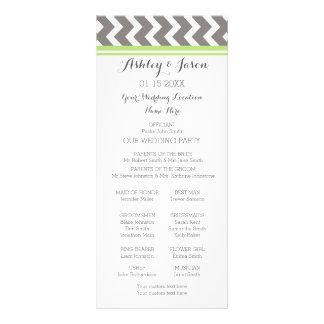 Lime Gray Chevron Wedding Program Personalised Rack Card