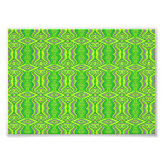 Lime Green 60's Retro Fractal Pattern Photo Print
