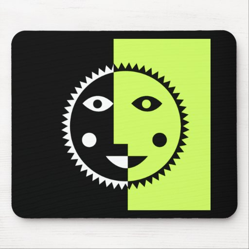 Lime Green Abstract Sun Mousepads