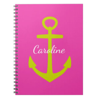 Lime Green Anchor on Diva Pink Personalized Spiral Notebooks