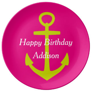 Lime Green Anchor on Hot Pink Happy Birthday Porcelain Plate