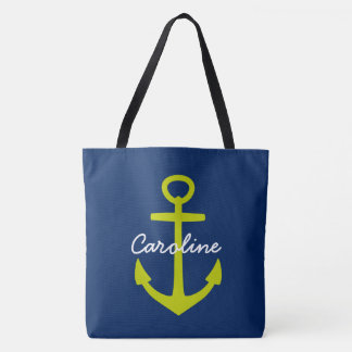 Lime Green Anchor on Navy Blue Personalized Tote Bag