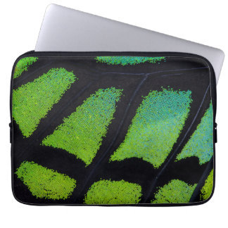 Lime green and black butterfly wing computer sleeve