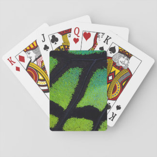 Lime green and black butterfly wing poker deck