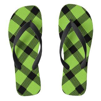 Lime Green and Black Plaid Design Thongs