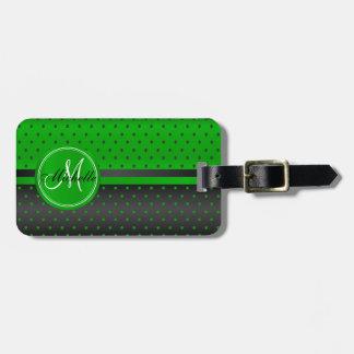 Lime Green and Black Polka Dot Design Luggage Tag