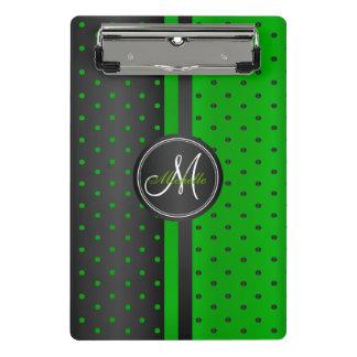 Lime Green and Black Polka Dots - Monogram