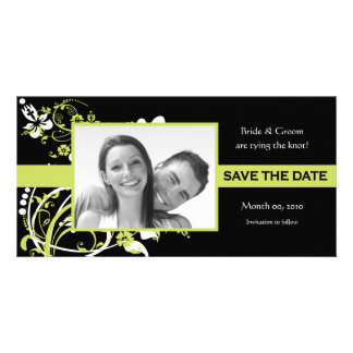 Lime Green and Black Save the Date Photo Cards
