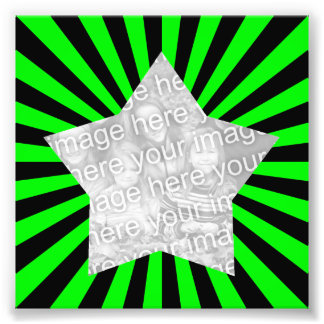 Lime Green and Black Starburst Frame Photo Photographic Print