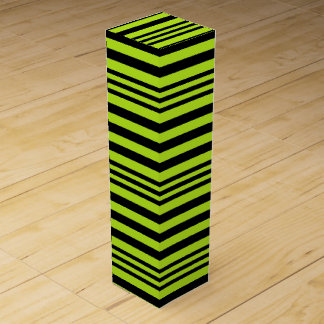 Lime Green and Black Stripes X 3 Wine Box