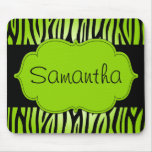Lime Green and Black Zebra Personalised Mouse Mat