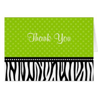 Lime Green and Black Zebra Polka Dot Thank You Card
