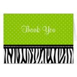 Lime Green and Black Zebra Polka Dot Thank You Note Card