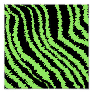 Lime Green and Black Zebra Print Pattern