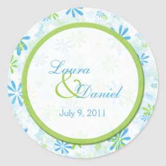"Lime Green and Blue Floral 1.5"" Round Sticker"