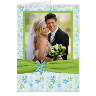 Lime Green and Blue Floral Photo Thank you Card