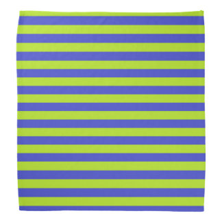 Lime Green and Blue Stripes Bandana