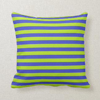 Lime Green and Blue Stripes Cushion