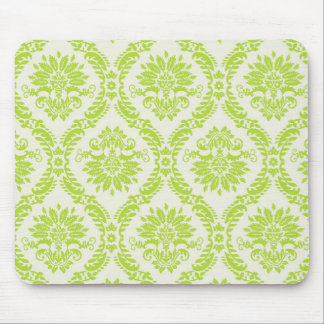 lime green and cream elegant damask pattern mouse pad