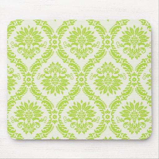 lime green and cream elegant damask pattern mousepad
