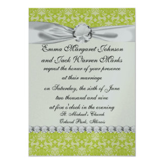 lime green and creme floral damask pattern 11 cm x 16 cm invitation card