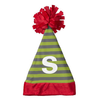 Lime Green and Gray Rugby Stripes Custom Monogram Santa Hat