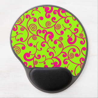 Lime Green and Hot Pink Scroll Design Gel Mousepads