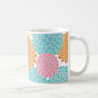Lime Green and Hot Pink Summer Flowers Mugs