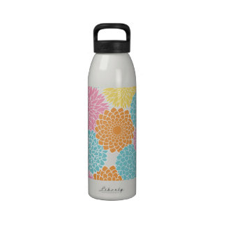 Lime Green and Hot Pink Summer Flowers Reusable Water Bottle