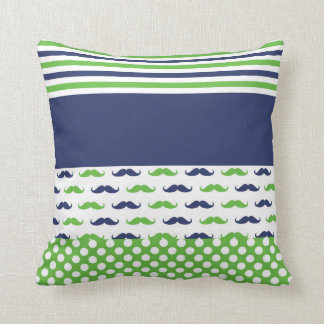 Lime Green and Navy Blue Moustache Pillow