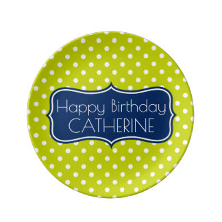 Lime Green and Navy Blue Polka Dot Birthday Porcelain Plate