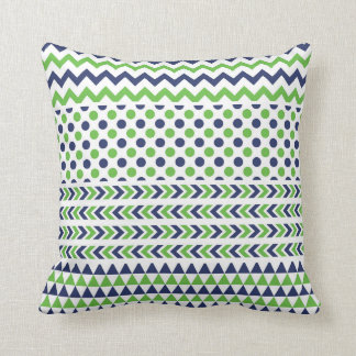 Lime Green and Navy Blue Print Pillow