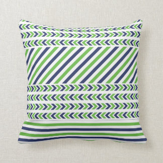 Lime Green and Navy Blue Stripes Pillow