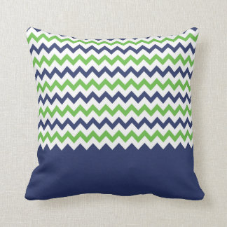 Lime Green and Navy Blue Zigzag Pillow