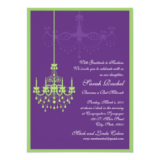 Lime Green and Orange Chandelier Invitation