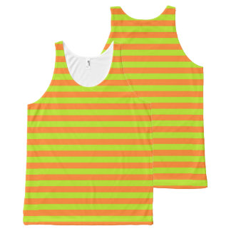 Lime Green and Orange Stripes All-Over Print Singlet