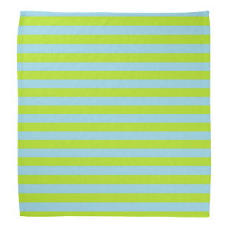 Lime Green and Pastel Blue Stripes Bandana