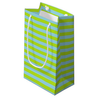 Lime Green and Pastel Blue Stripes Small Gift Bag