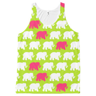 Lime green and pink elephants All-Over print singlet