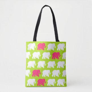 Lime green and pink elephants design bag tote bag