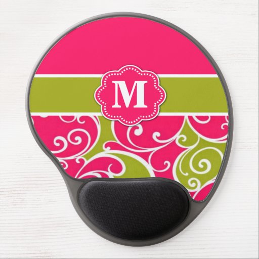 Lime Green and Pink Monogram Mousepad Gel Mouse Mats