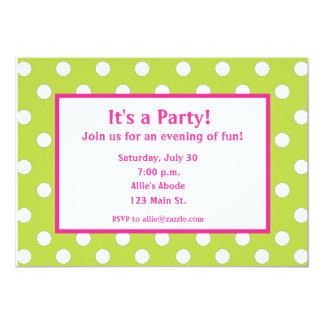 Lime Green and Pink Polka Dot Invitation