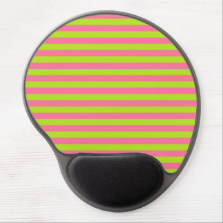 Lime Green and Pink Stripes Gel Mouse Pad