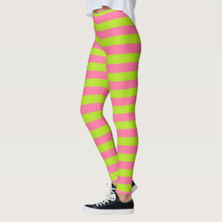 Lime Green and Pink Stripes Leggings