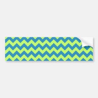 Lime Green and Teal Chevron Bumper Sticker